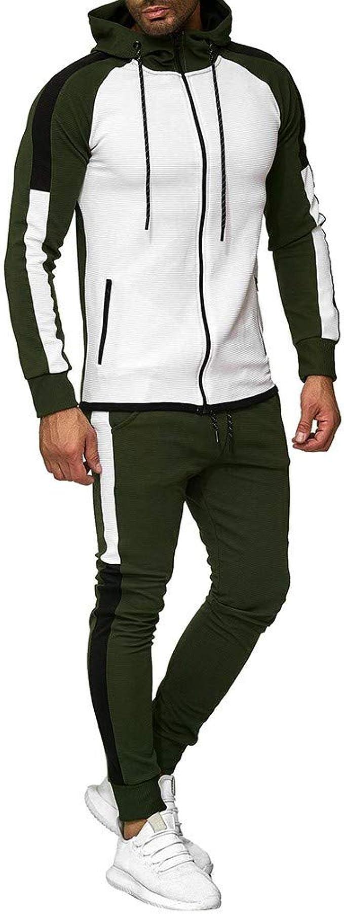 Vectry Hombre Autumn Gradient Zipper Print Sweatshirt Top Pants ...