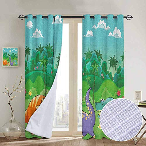 "NUOMANAN Thermal Insulated Blackout Curtain Nursery,Funny Dinosaurs and Tropical Rainforest Cartoon Jungle Green Landscape Kids Theme, Multicolor,Blackout Draperies for Bedroom Living Room 54""x84"""