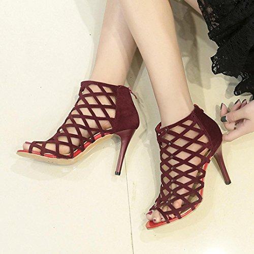 hunpta Sandals, Women's Fashion Peep Toe High Heels Shoes Rivet Roman Gladiator Sandals Wine