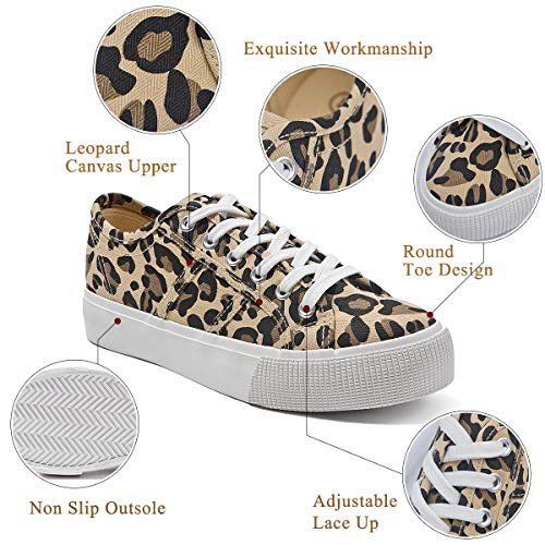 Adokoo Womens Platform Sneakers Leopard Shoes Cute Shoes(Leopard,US8