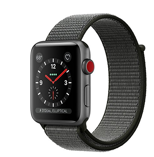 Apple watch series 3 Aluminum case Sport 42mm GPS + Cellular GSM unlocked (Space Gray Aluminum case with Dark Olive Sport Loop)