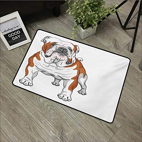 (Meeting Room mat W35 x L59 INCH English Bulldog,Muscular Dog with Sketch Style Illustration of Canine Pure Breed Animal,Brown White Non-Slip, with Non-Slip Backing,Non-Slip Door Mat Carpet)