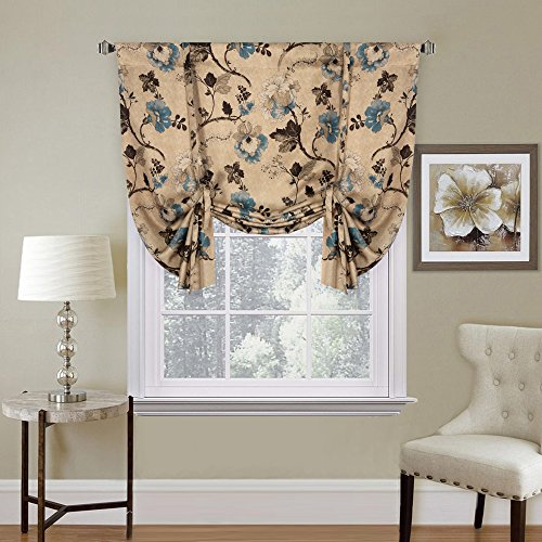 Thermal Insulated Blackout Window Drapes Adjustable Tie Up Shade Rod Pocket Curtain for Kitchen - 42