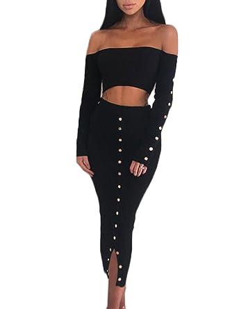 51c2a05454 D Jill Women's 2 Piece Outfits Sexy Off Shoulder Crop Top Button Down  Bodycon Long Skirt