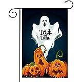 Halloween Welcome Garden Flag Double Sided Burlap Yard Flag, Pumpkins Bats Castle Ghosts Black Cats Autumn Halloween Decorati