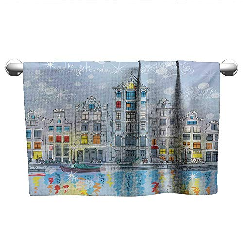 alisoso Christmas,Hand Towels Noel Time at Amsterdam Canal with Historical Famous Buildings North Europe Design Bath Towels for Kids Multicolor W 24