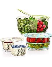 Luxear Fresh pojemniki do przechowywania żywności z owocami, 4,4 l + 1,8 l + 0,48 l, z pokrywką, kratką ociekową, wolne od BPA, regulowane 2-komorowe pudełko do przechowywania