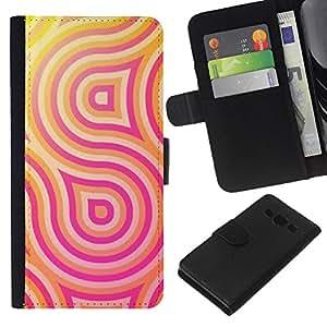 [Neutron-Star] Modelo colorido cuero de la carpeta del tirón del caso cubierta piel Holster Funda protecció Para Samsung Galaxy A3 [Pink Yellow Lines Pattern Swirl Sun]