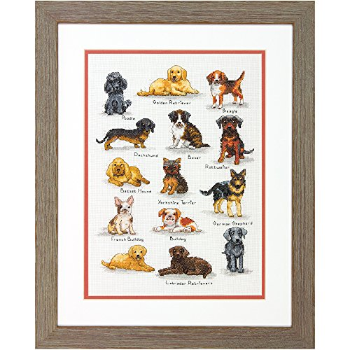 (Dimensions 70-35353 Dog Sampler Counted Cross Stitch Kit, Dog Cross Stitch,  10