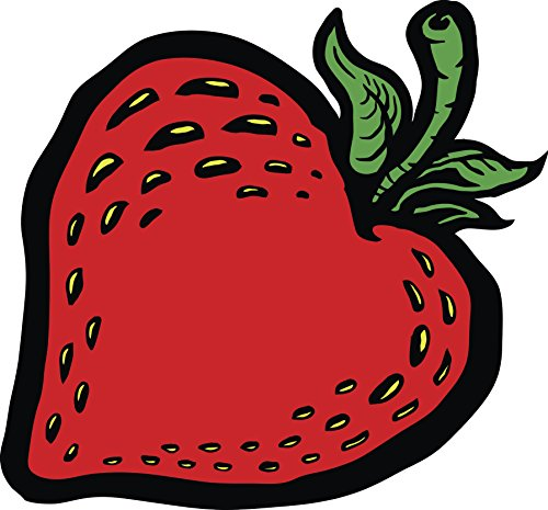 Simple Retro Heart Shaped Strawberry Comic Cartoon Icon Vinyl Decal Sticker (4