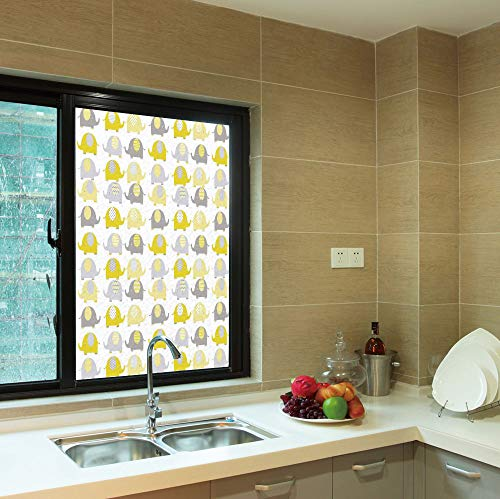 (YOLIYANA Frosted Window Film,Nursery,for Shop Restaurant Home,Yellow and Grey Cute Elephant Collection Cartoon Animals,24''x36'')