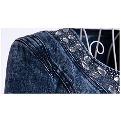 Automne en Femme Vestes Casual Plus Denim Taille Style Jean Longues Manteaux Retro Slim la Manches Mxssi Blousons Hiver Haut Court 1 Veste 6qAxdqI5