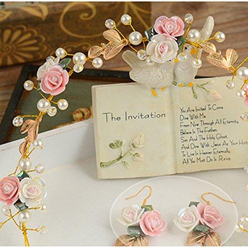 Belle Céramique Oreilles Fleur Tiare Mariée Bijoux De Mariage Ensemble