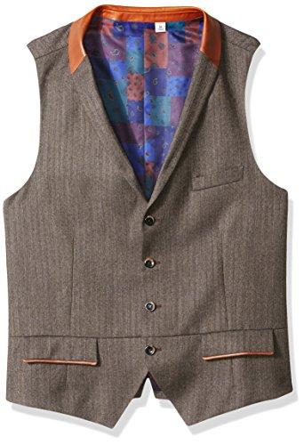 Classic Wool Vest (Robert Graham Men's Grenville Classic Fit Woven Vest, Brown, 2XLARGE)