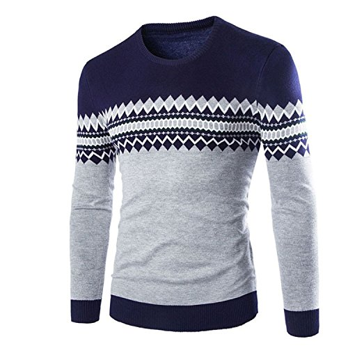 Leng Men's Sweaters V-Neck England Style Slim Print Geometric Full Sleeve Thin Male's Pullovers Ocean BlueXX-Large by LeNG Pullover-sweaters