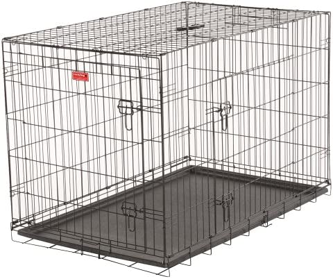 Lucky Dog 2 Door Dog Training Kennel with Rust-Resistant Wire, Handle and Leak-Proof Removable Pan, Giant – 48L x 30W x 33H Inch