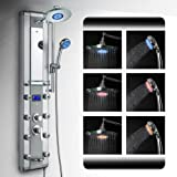 """AKDY 5333D 51"""" Aluminum Rain Style System with 3 Colors LED Shower Panel"""