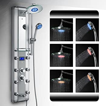 "AKDY 5333D 51"" Aluminum Rain Style System with 3 Colors LED Shower Panel"