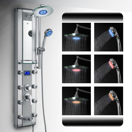 AKDY Aluminum Shower Panel AzV5333d Rain Style System with 3 Colors LED