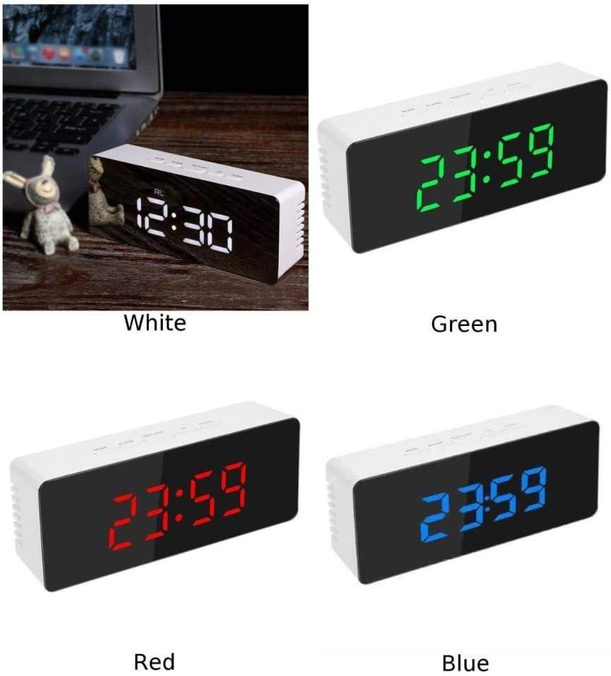 Blanc LWLJCFFF LED Miroir Alarme Horloge de Table Lumineux Num/érique Snooze Temps Temp/érature R/éveil Lumi/ère R/étro-/Éclair/é Bureau Horloge Chambre Maison