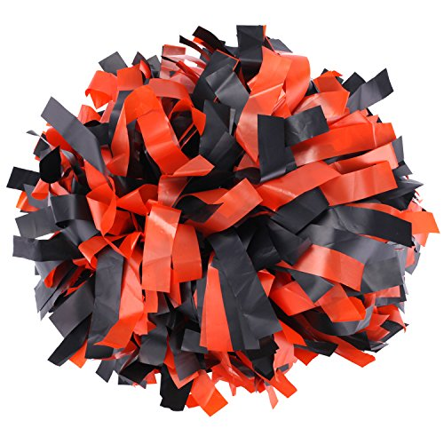 ICObuty Plastic Cheerleader Cheerleading Pom Pom 6 inch 1 Pair (Black-Orange) (Orange Cheerleader Pom Poms)