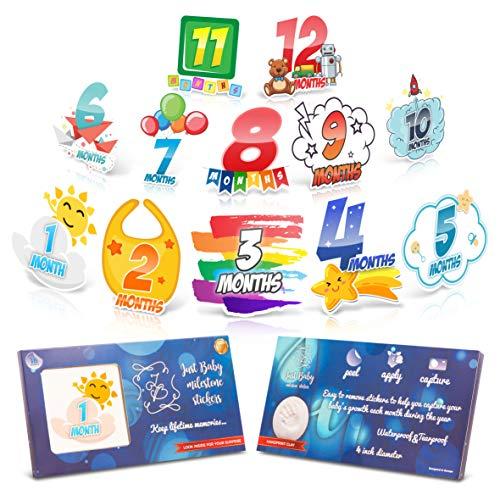 Baby Monthly Milestone Stickers – Unique Month Milestones for Infant Boys – Newborn Shower Gift - Blue Rainbow -