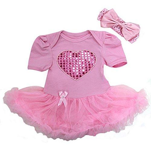 Ameda Baby Bling Heart Valentine's Day Costume Bodysuit Tutu Large Pink ()