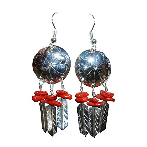 Synthetic Coral St. Silver Concha Earrings Handmade Navajo Jewelry SilverPlate EarWire 6 Beads 3 Feathers