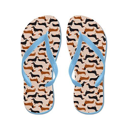 Cafepress Teckel Tan - Flip Flops, Grappige String Sandalen, Strand Sandalen Caribbean Blue
