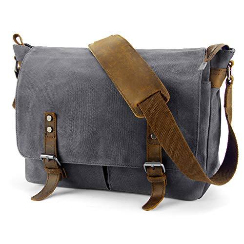 Y-DOUBLE 15 - 15.6 Inch Water Resistant Canvas Unisex Laptop Bag Messenger Bag,Crossbody Shoulder Bag