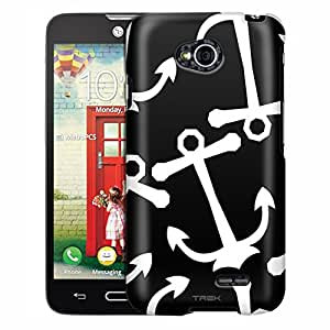LG Optimus Exceed 2 Case, Slim Fit Snap On Cover by Trek Anchors White on Black Case