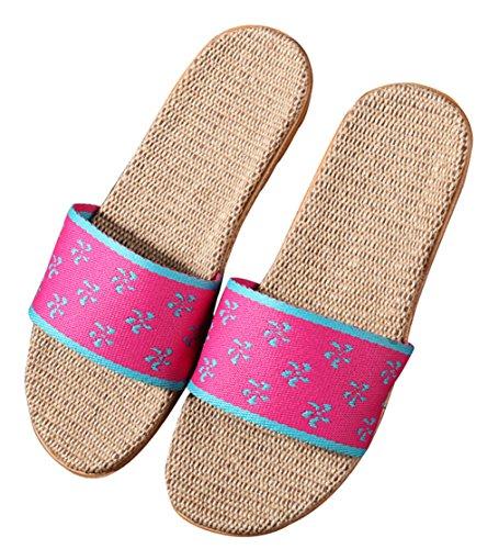 Blubi Womens Geometric Open Toe Skid-proof Flax Summer House Slippers Bedroom Slippers Rose pd4ERO