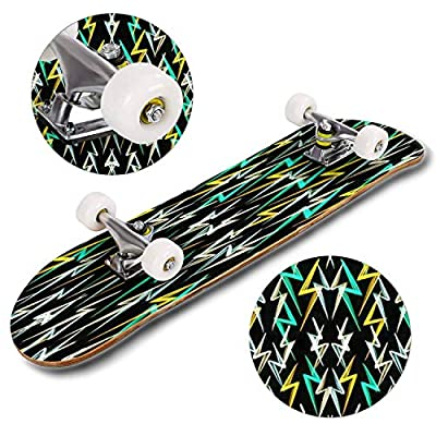 Classic Concave Skateboard Vivid Seamless Pattern with Hand Drawn Green Yellow and White Longboard Maple Deck Extreme Sports and Outdoors Double Kick Trick for Beginners and Professionals : Sports & Outdoors