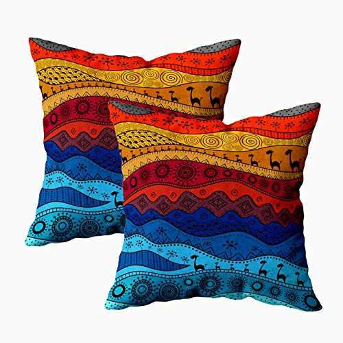 - Musesh Red Pillow Covers, Pack of 2 African Ethno Pattern Tribal Background Can Be Used Web Page and Others for Wallpaper for Sofa Decorative Pillowcase 18X18Inch Pillow Covers