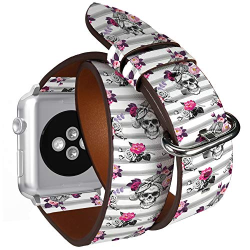 Compatible with Small Apple Watch 38mm & 40mm Double Tour Roll Leather Watch Wrist Band Strap Bracelet with Stainless Adapters (Ster Skull Silhouettes) ()