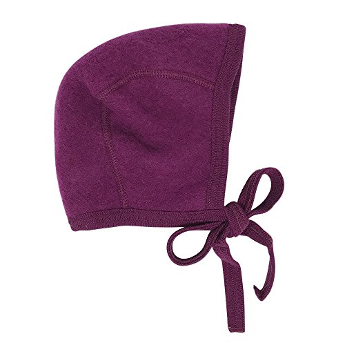 Wool Bonnet (Newborn Baby Bonnet Hat with Ties, Organic Merino Wool Fleece (62-68 / 3-6 months, Berry))