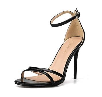 L-XIE Femmes Stylet Haute Talons Des sandales Cheville Strappy Piaulement Doigt de pied Fête Pompes Bal de promo Soir Grand Taille 35-44, black, EUR 40/UK 7