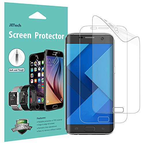JETech Screen Protector for Samsung Galaxy S7 Edge, TPE Ultra HD Film, Full Screen Coverage, 2-Pack (Best Screen Protector For Galaxy S7 Edge)