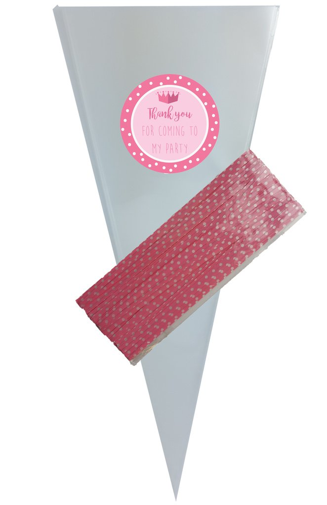 blu SKIDDOO Cellophane clear cone bags for party or sweets - coloured twist ties – stickers – many designs Premier Design Products