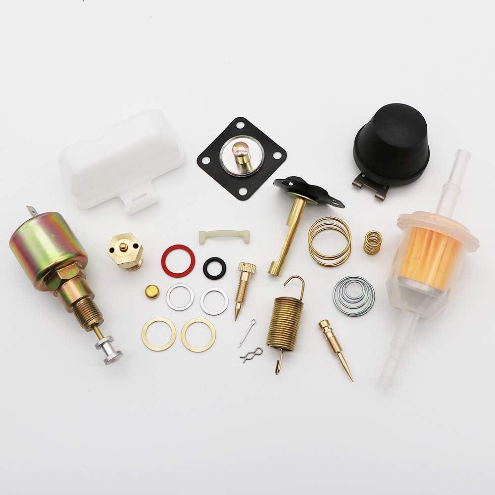 Dokili Kit de reparaci/ón de carburador para Vw Solex Brosol Bocar EMPI 28 30 34 PICT-3 con flotador y solenoide de de v/álvula de 12 V