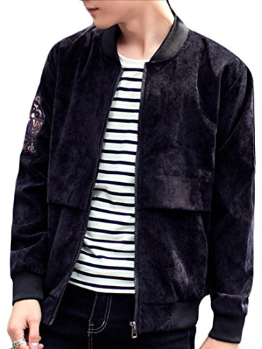 Generic Up Neck Baseball Black Thick Jacket Corduroy Zip Mens Casual Print rwAgBrxH