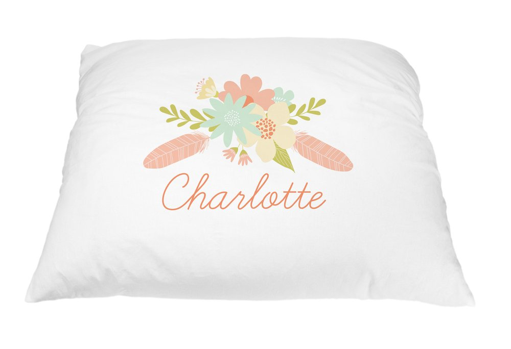 Personalized Kid's Flower Pillowcase Microfiber Polyester 20 by 30 Inches, Flower and Floral Pillow Cover, Custom Floral Pillowcase, Floral Bedroom Décor, Personalized Bedding for Girls