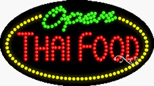 15x27x1 inches Thai Food Open Animated Flashing LED Window Sign by Light Master