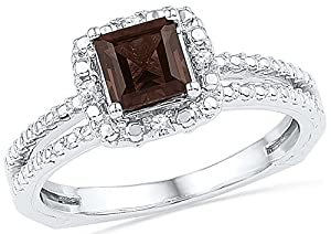 Size - 4.5 - Solid 10k White Gold Princess Cut Round Chocolate Brown Simulated Smoky Quartz And White Diamond Engagement Ring OR Fashion Band Prong Set Solitaire Shaped Halo Ring (3/4 cttw)