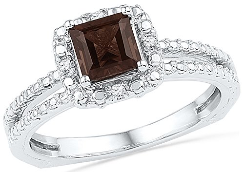 - Jewel Tie Size - 9-10k White Gold Princess Cut Round Chocolate Brown Simulated Smoky Quartz And White Diamond Fashion Band OR Engagement Ring Prong Set Solitaire Shaped Halo Ring (3/4 cttw.)
