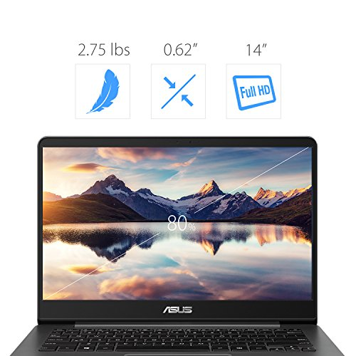 ASUS ZenBook 14 Thin and Light Laptop - 14 Full HD WideView, 8th gen Core i7-8550U Processor, 16GB DDR3, 512GB SSD, Backlit KB, Fingerprint Reader, Grey, Windows 10 Home - UX430UA-DH74
