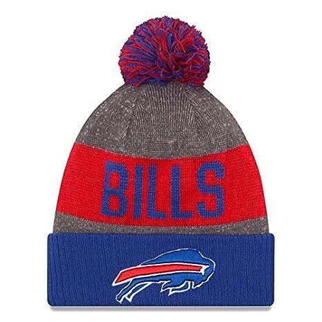 23df1c8a27c486 Amazon.com : New Era Knit Buffalo Bills Blue On Field Sideline Winter  Stocking Beanie Pom Hat Cap 2015 : Clothing