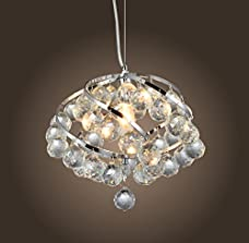 "Saint Mossi Crystal Screw Chandelier Modern & Contemporary Ceiling Pendant Light 1 E12 Bulb Required H20"" X W12"" X L12"""