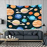 smallbeefly Galaxy Wall Tapestry Cute Galaxy Space Art Solar System Planets Mars Mercury Uranus Jupiter Venus Kids Print Home Decorations for Living Room Bedroom 80''x60'' Multi