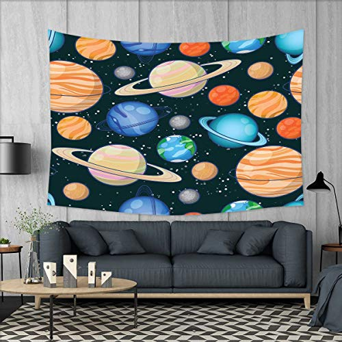 smallbeefly Galaxy Tapestry Wall Tapestry Cute Galaxy Space Art Solar System Planets Mars Mercury Uranus Jupiter Venus Kids Print Art Wall Decor 60''x51'' Multi by smallbeefly